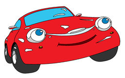 Car. Red cartoon car with smile Stock Photos
