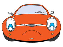 Car. The cartoon car with unhappy smile Stock Images