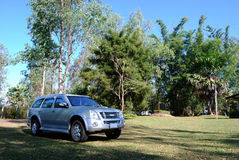 Car 4x4. The car park in the forest royalty free stock image