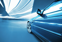 The Car. Moving Car at night in the lights Royalty Free Stock Photo