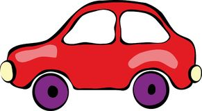 Car. Red funny car,  illustration, child's picture Stock Photo