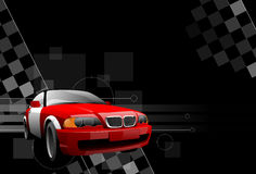 Car. Of red colour on a black background Stock Photo