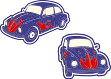 Car. A vector VW beetle with flames vector illustration