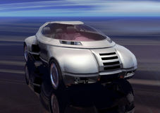 Car. A grey metal futuristic prototype car in 3d stock illustration