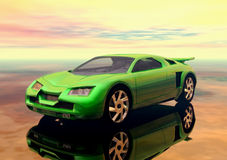 Car. A green futuristic prototype sport car in 3d vector illustration