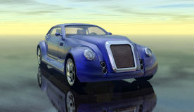Car. A blu futuristic prototype sport car in 3d vector illustration