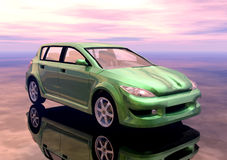 Car. A green prototype car in 3d Stock Photo