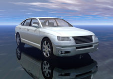 Car. A white prototype car in 3d Royalty Free Stock Image