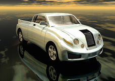 Car. A white futuristic prototype pickup car in 3d royalty free illustration