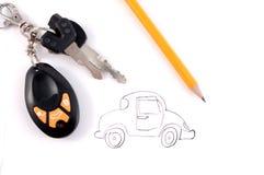 Car. A car is drawn by a pencil Royalty Free Stock Photos