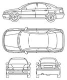 Car. Top, leftside, front and back. Vector illustration Royalty Free Stock Image