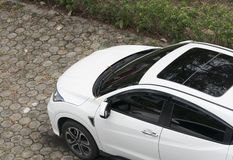 Car from above in the parking area. Of a top view of the house stock photos