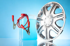 Car accessories with alloy wheel Royalty Free Stock Photography