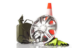 Car accessories and road emergency items Royalty Free Stock Photos