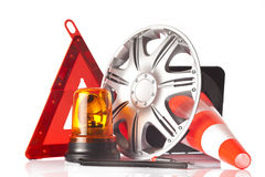 Car accessories and road emergency items Royalty Free Stock Images