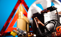 Car Accessories on vivid moto concept Royalty Free Stock Photo