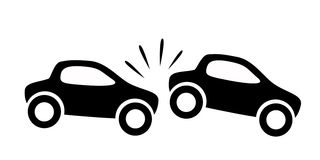 Car accident. One car runs into other car Royalty Free Stock Photo