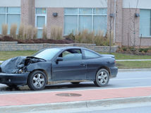 Car Accident. Car with crumpled hood after an accident royalty free stock photo