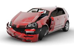 Car accident. A red car accident isolated on white background Royalty Free Stock Image
