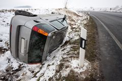 Car accident. Car flipped upside down in accident Stock Photography