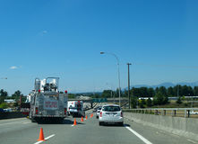 Car accident. Accident on bridge with car over turned royalty free stock photography
