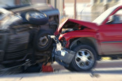 Car Accident. Two cars smashed together in a car accident with rollover Royalty Free Stock Images