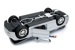 Car accident. Turned over car after car accident on white stock photo
