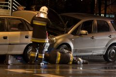 Car accident. At night in a city Royalty Free Stock Photos