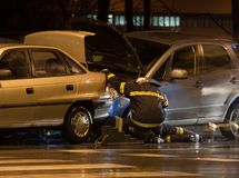 Car accident. At night in a city Royalty Free Stock Photo