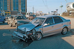 Car accident. The car accident on street of Ufa city Stock Photos