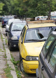 Car accident. Yellow car with a broken windshield Royalty Free Stock Photography