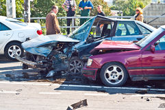 Car accident. Two damaged cars from vehicle accident on highway 6 September 12. 00 on the bridge. The accident happened on the street Kievskaya, Kaliningrad Stock Photography