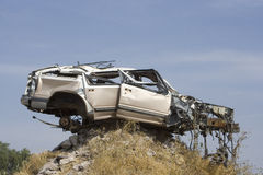 Car accident. Car destroyed in an accident stock photography
