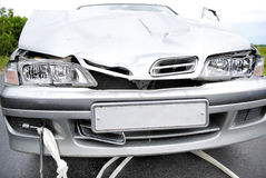 Car accident. The modern car broken after road failure Stock Photo