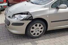Car accident. A new car parking after an accident Royalty Free Stock Photo