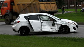 Car accident. View of car accident airbag stock video