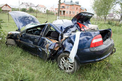 Car accident. On the roadside stock photo