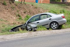 Car accident. Car wreck near to highway Royalty Free Stock Images