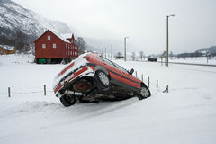 Car accident. Winter road nountain road royalty free stock images