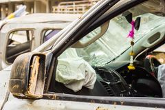 Car accident. Airbag exploded at a car accident,Car crash and airbag working Royalty Free Stock Photography