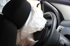 Car accident airbag explosion Stock Image