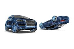 Car accident analysis in wire frame stock illustration