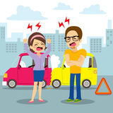 Car Accident Argument. People having an argument on a traffic car accident at city Stock Image