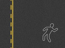 Car accident background. A stylized background representing a top view of a road where a car accident just happened. On the ground, the silouhette of a casualty Royalty Free Stock Photo