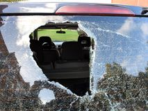 Car accident with broken windshield in the end, Lithuania stock photo
