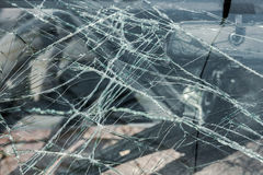 Car accident. With  broken windshield in focus Stock Photos