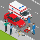 Car accident. Car crash. Flat 3d vector isometric illustration. Accident road situation danger car crash and accident road collision safety emergency transport Royalty Free Stock Photography