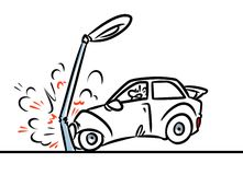 Car accident cartoon illustration Royalty Free Stock Images