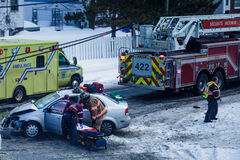 Car accident caused by bad signalisation at Intersection in Long. Editorial - Longueuil, Quebec, Canada on March 4th 2015 during the winter. Car accident caused Stock Image