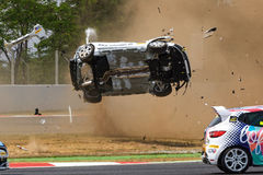Car accident on the Circuit de Catalunya royalty free stock photos